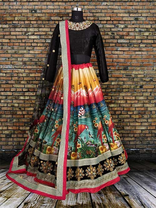 Beautiful Black Colored Digital Printed Fine Art Silk Lehenga Choli
