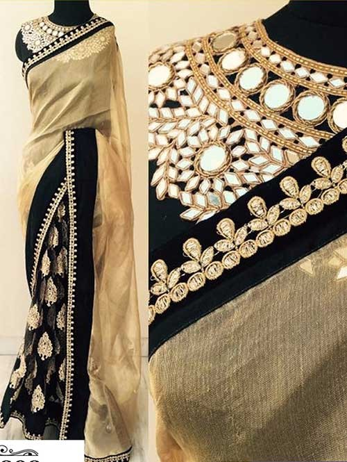 Beige and Black Colored Embroidered Georgette Saree