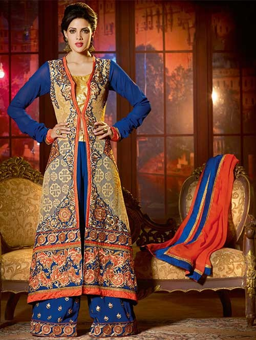 Beige and Blue Colored Rachel and Faux Georgette Salwar Suit With Delicate Reshan and Zari Embroideries