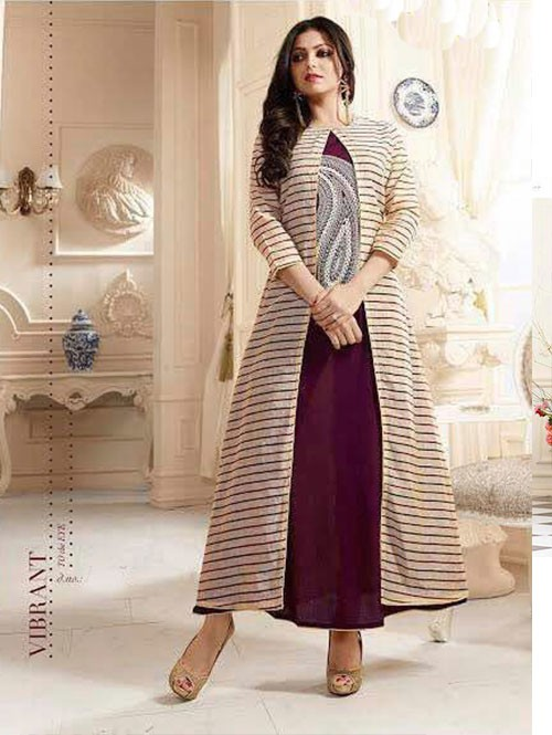 Beige and Maroon Colored Chanderi Printed Kurti