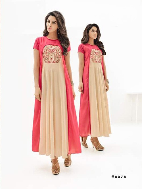 Beige and Peach Colored Beautiful Georgette Kurti with Heavy Embroidery