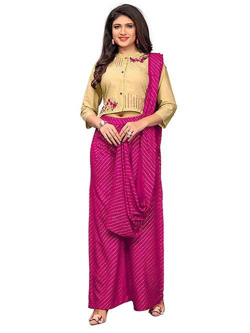 Beige and Pink Colored Beautiful Cotton Printed and Embroidered Crop Top With Palazzo