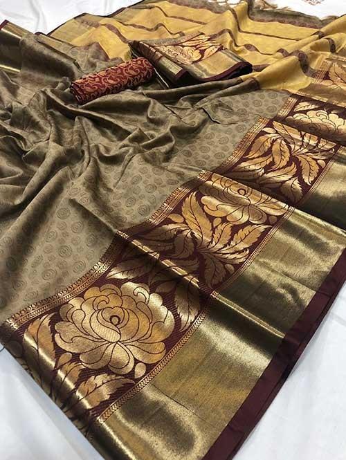 Beige Color Beautiful Weaving Cotton Silk Saree - Antique Rose