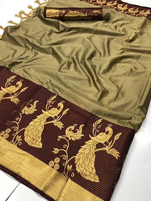 Beige Color Beautiful Weaving Cotton Silk Saree