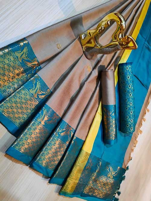 Beige Color Beautiful Weaving Cotton Silk Saree - Mahiya & Ashra