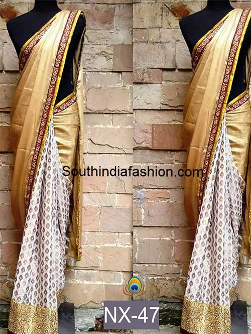 Beige Color Chiffon Georgette and Viscose butty Saree with eye-catching Work On border