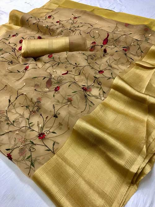 Beige Colored Beautiful Embroidered Branded Organza Silk Sarees