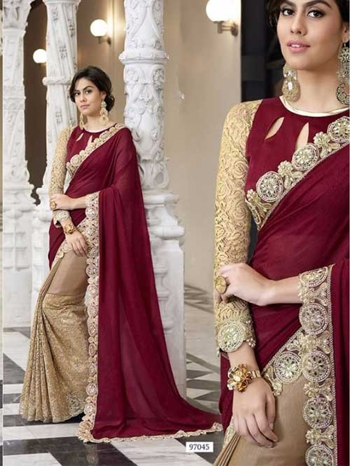 Beige Colored Beautiful Embroidered Chiffon and Net Saree