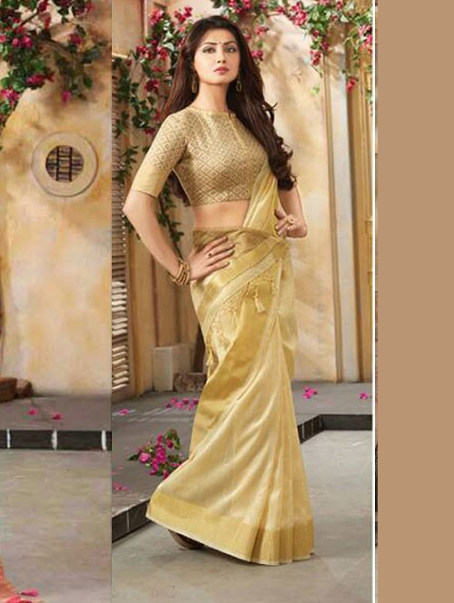 Beige Colored Beautiful Embroidered Cotton Saree With Matching Blouse