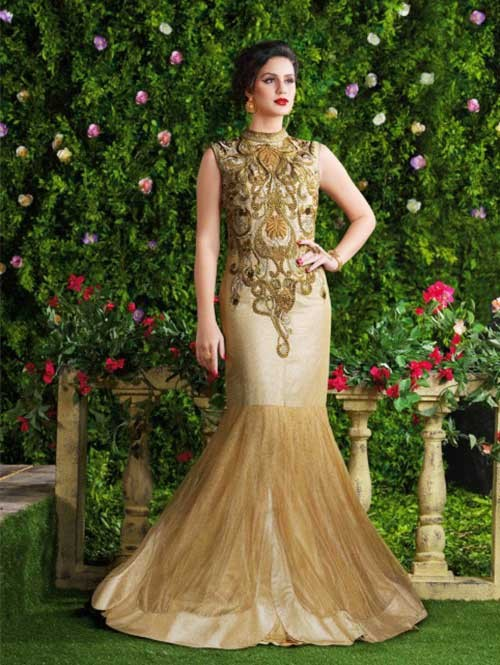 Beige Colored Beautiful Embroidered Dimple Net Gown