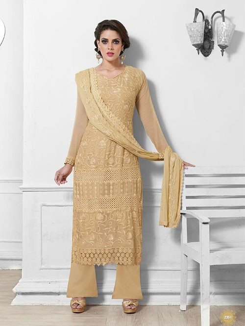 Beige Colored Beautiful Embroidered Faux Chiffon Suit