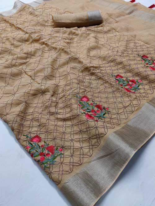Beige Colored Beautiful Embroidered Linen Saree - Ruchi Silk
