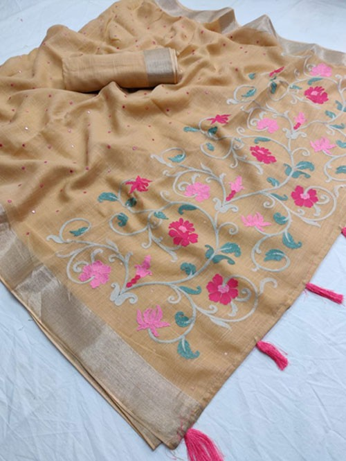 Beige Colored Beautiful Embroidered Linen Saree With Mirror Work - Naisha