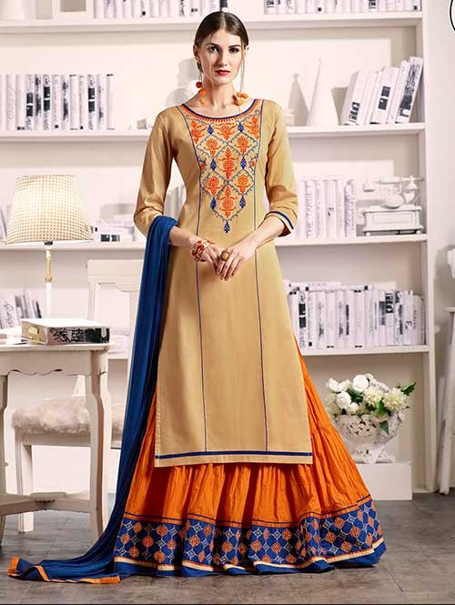 Beige Colored Beautiful Embroidered Silk Cotton Lehenga Suit