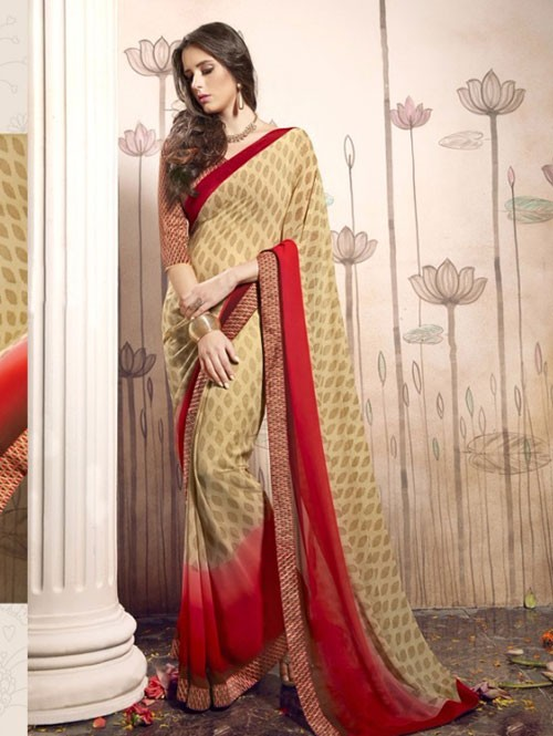 Beige Colored Beautiful Faux Georgette Saree with Printed Blouse.
