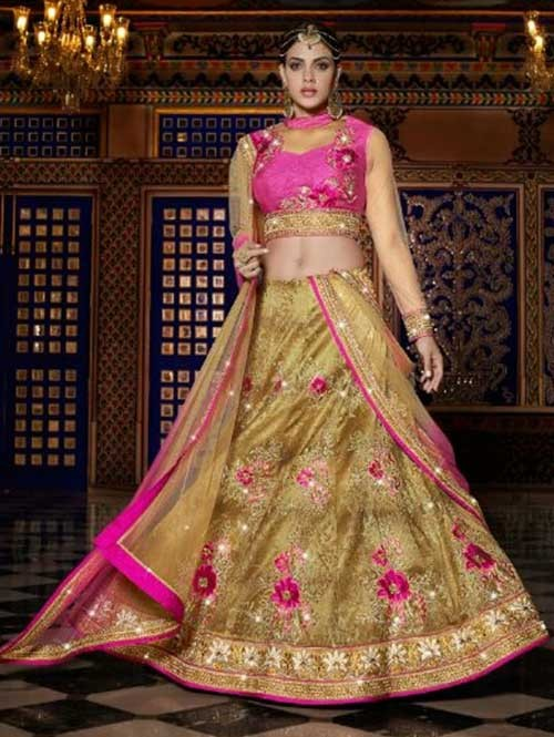 Beige Colored Beautiful Heavy Embroidered Mulbery Silk Lehenga Choli