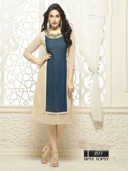 Beige Colored Beautiful Heavy Faux Georgette Designer Kurti.