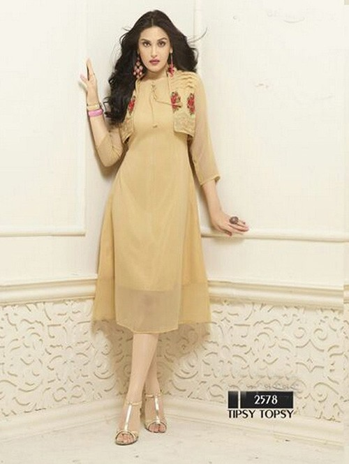 Beige Colored Beautiful Heavy Faux Georgette Designer Kurti