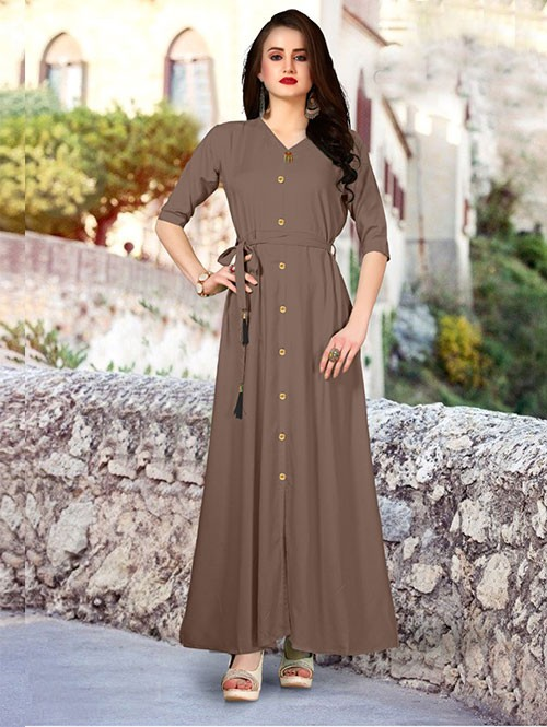 Beige Colored Beautiful Printed A-Line Rayon Kurti.
