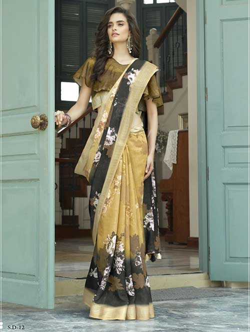 Beige Colored Beautiful Printed Linen Saree - ShvEtaMBar