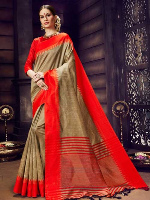 Beige Colored Beautiful Raw Silk Saree