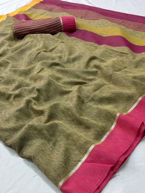 Beige Colored Beautiful Woven Linen Saree - Sneha