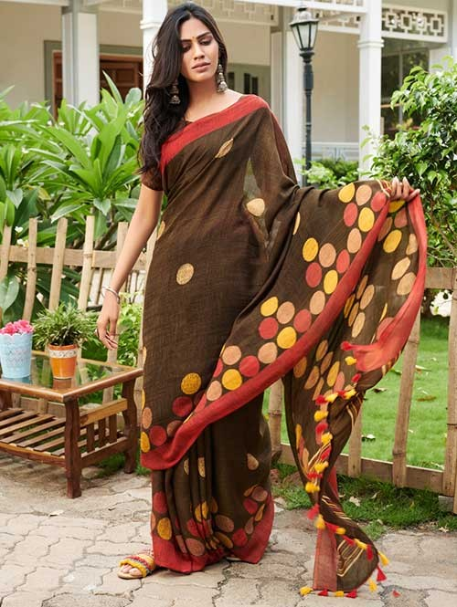 Beige Colored Beautiful Woven Linen Silk Saree - Pearl