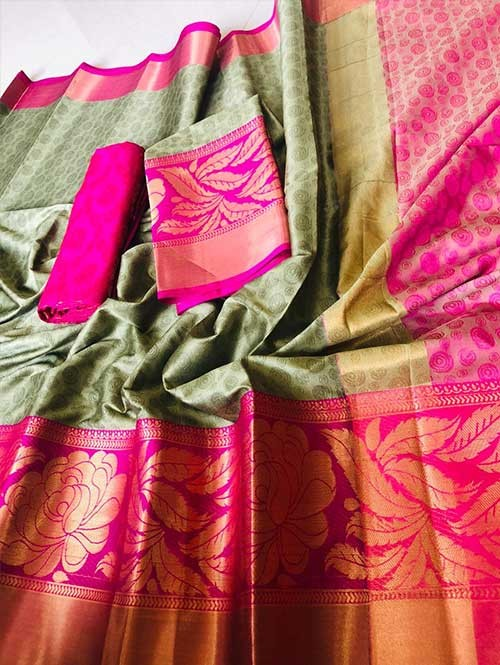 Beige Colored Cotton Silk Saree - Flying Bird
