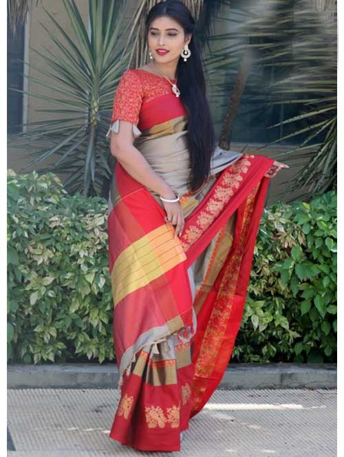 Beige Colored Cotton Silk Saree with Extra Blose Piece - Rich Mayurica