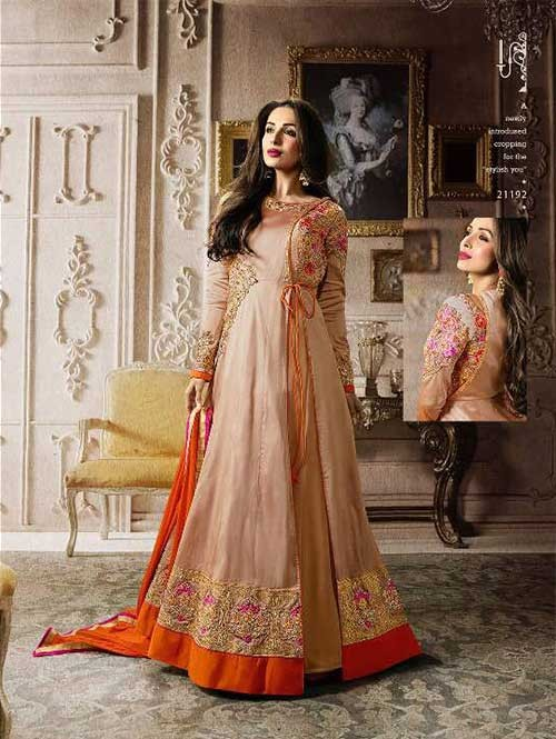 Beige Colored Embroidered Heavy Sequence Badla Work and Zari Worked Lehenga Suit.