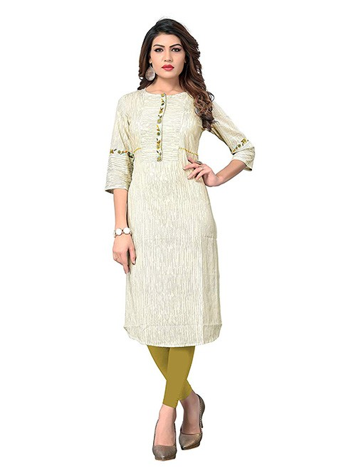 Beige Colored Embroidered Straight Cotton Kurti Online