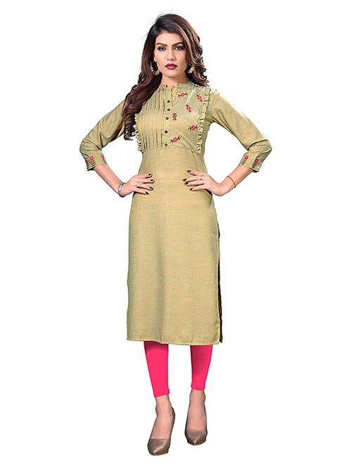 Beige Colored Embroidered Straight Rayon Silk Kurti Online
