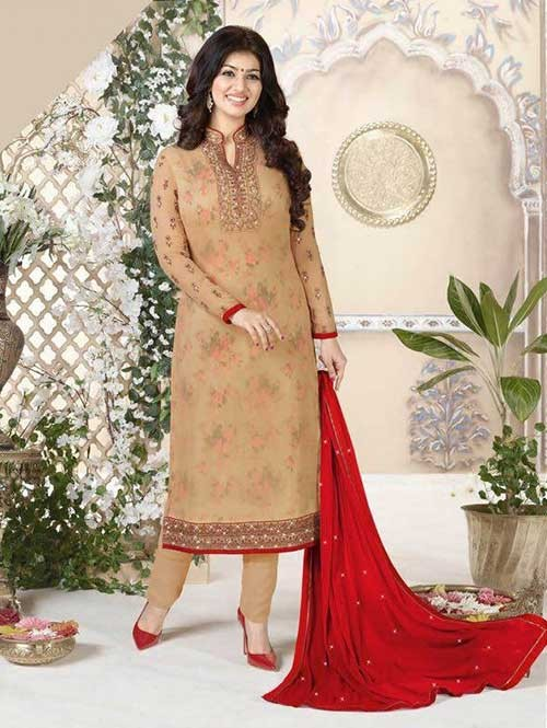 Beige Colored Heavy Embroidered Georgette Salwar Suit