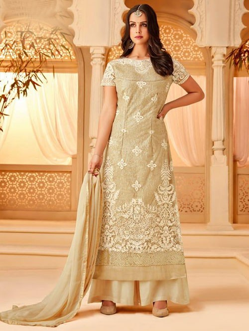 Beige Colored Heavy Embroidered Original Net Salwar Suit Material