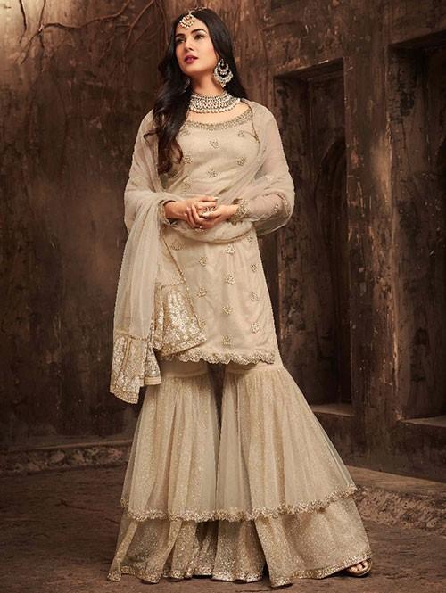 453b8fea58 Beige Colored Net Bridal Wear Heavy Embroidery Work Original Salwar ...