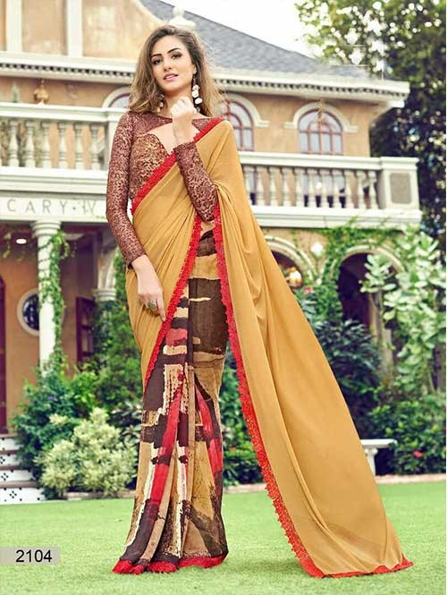 Beige Colored chiffon and Faux Georgette Printed Saree With Beautiful Blouse