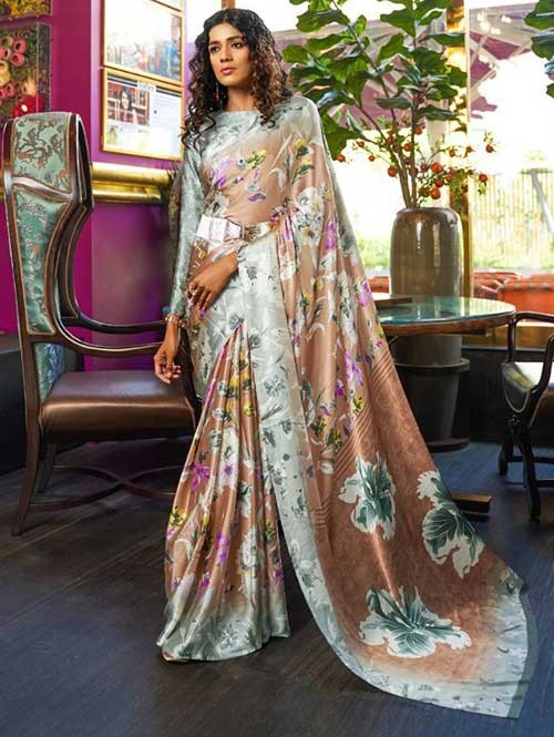 Beige Colored Printed Satin Japanese Crepe Saree in Best Qaulity - Kshwetlana