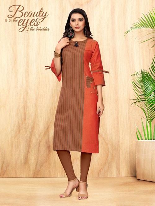 Beige Colored Straight Hadloom Cotton Kurti Online - 5 Star