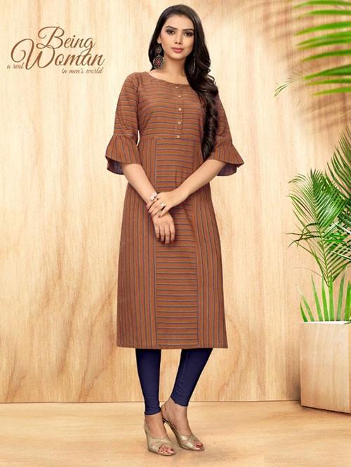 Beige Colored Straight Handloom Cotton Kurti Online - 5 Star
