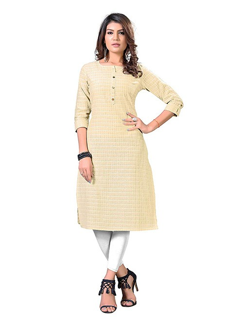 Beige Colored Straight Solid Cotton Kurti Online