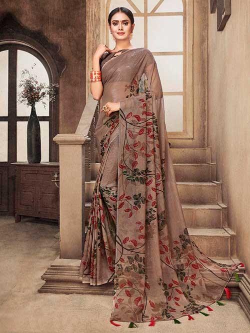 Beige Colored Zari Chiffon Blended Silk Fancy Sare