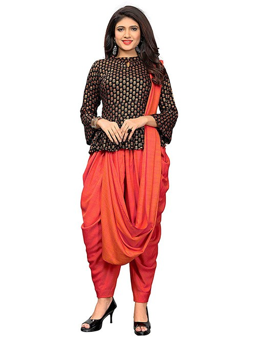 Black and Orange Colored Beautiful Cotton Printed and Embroidered Crop Top With Palazzo