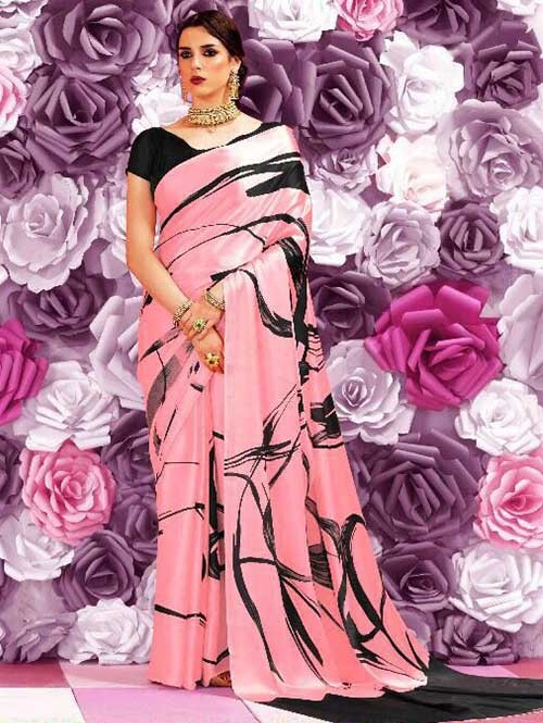 Black and Peach Colored Beautiful Printed Crepe Saree
