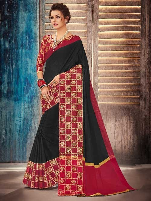 Black and Red Colored Beautiful Banarasi Silk Saree With Rich Blouse
