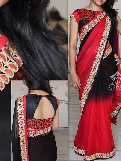 Black and Red Colored Beautiful Embroidered 60Gm Georgette Saree