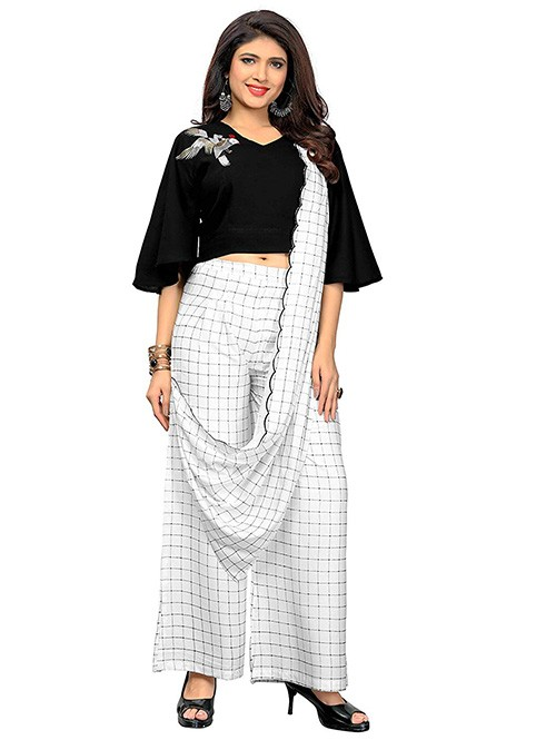 Black and White Colored Beautiful Cotton Printed and Embroidered Crop Top With Palazzo