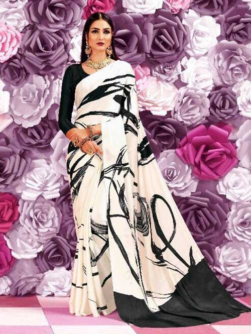 Black and White Colored Beautiful Printed Crepe Saree