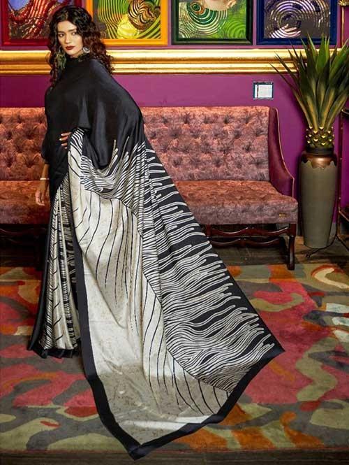 Black and White Colored Printed Satin Japanese Crepe Saree in Best Qaulity - Kshwetlana