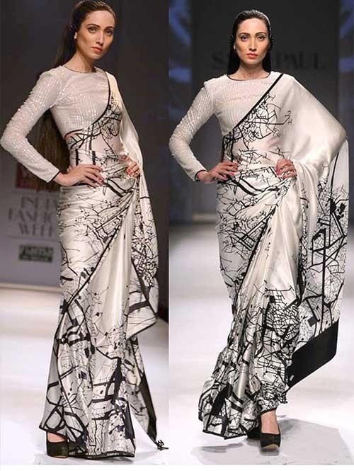 Black and White Colored Pure Silk Print Saree