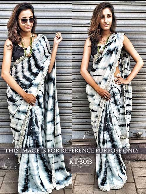 Black and White Colored Sibori Moss Silk Print Saree